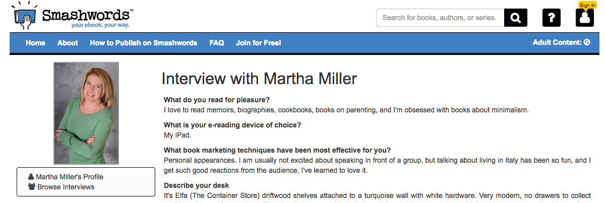 """Screen grab of Martha Miller's interview with indie bookseller """"SmashWords."""""""